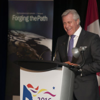 Premier Dwight Ball of Newfoundland & Labrador delivering his January 30th keynote luncheon presentation.